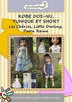Patron de la robe dos-nu, tunique et short pour les poupées 32-35 cm comme Little Darling Effner, Chéries to buy etsy