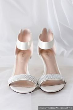 Wedding shoes ideas - open toe, rhinestones, heels, sandals {Justin Tibbitts Photography}