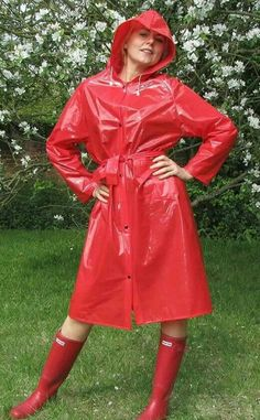 Red PVC Hooded Raincoat  Rubber Boots