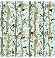 Birds on trees. winter forest vector by gollli on VectorStock®