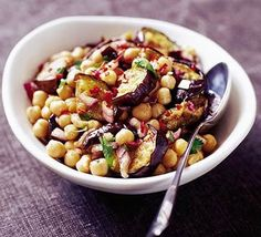 Moroccan aubergine & chickpea salad, not keen on aubergines so might try this with courgettes.