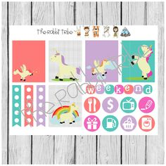 Weekly sticker set - Unicorns - planner stickers by TheRabbitTribe on Etsy