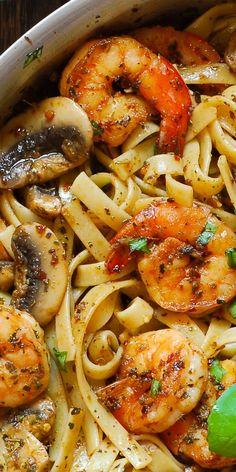 Pesto Shrimp Pasta in Mushroom Garlic Sauce.