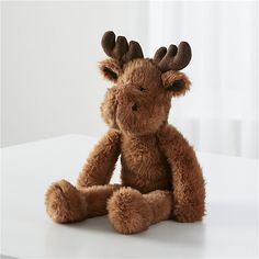 With antlers that are soft as can be, this plush moose isn't exactly the wildest animal around. Cute Stuffed Animals, Baby Animals, Baby Learning Toys, Wooden Baby Toys, Jellycat, All Toys, Baby Wraps, Child Doll, Baby Boy Nurseries