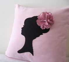 Elegant Cameo Soft Pink And Black Pillow Cover. Lady With Pretty Rosette Headpiece