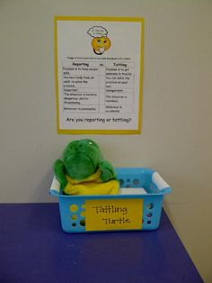 I hope this helps quell the tattling in our after school program. I saw the poster on Pinterest and I found information about a 'Tattling Turtle' kit in a internet search.