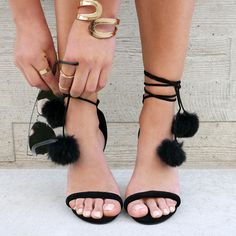 Pom-Pom Squad Faux Suede Heels #heels #rings #pompom #jewelry #sunglasses…