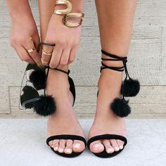 Pom-Pom Squad Faux Suede Heels #heels #rings #pompom #jewelry #sunglasses…