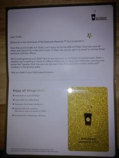 You know you're hung up on Starbucks when you get a gold membership card