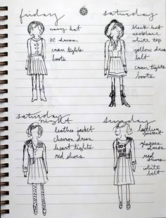 """Love this idea. I always """"try"""" to plan out my travel outfits in my head when packing, but drawing them up and making a list is SO much smarter."""