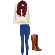 if a cute, long sleeved, light, and stripped shirt didn't float your boat, maybe this adorable fall outfit with a scarf, loose shirt, blue skinny jeans, and cute boots will!!