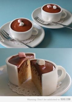 Hot chocolate cupcake | This is awesome i need to make this for my next birthday cake but make it coffee !! arghhh cant wait !
