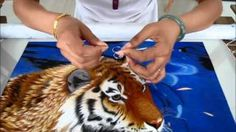 Bengal Tiger Swimming - 74059 #Handmade #Silk #Embroidery #Art completely handmade by master artists in Suzhou, China. Asian decor for Feng Shui, Gifts & Art Collectors. Please visit our website at www.queensilkart.com.  You can also find King Silk Art's shop on Amazon.com or visit our Etsy shop at: https://www.etsy.com/shop/KingSilkArt
