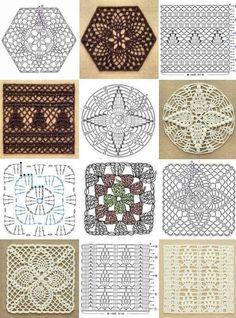 Tiem, kuri tamborē no motīviem :) - Darbīgās rokas — draugiem. Modern Crochet Patterns, Crochet Square Patterns, Crochet Diagram, Crochet Chart, Crochet Motif, Quilt Block Patterns, Crochet Doilies, Crochet Granny, Hippie Crochet