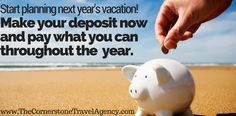 Start planning your next vacation now by making a deposit and paying what you can throughout the year. Call us for the details 1-855-9-CRUZIN or Contact Us (Hablamos Español)