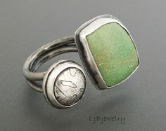 Silver Ring, Variscite Ring, Gemstone Ring, Green Stone, Variscite, Sterling Silver, Metalsmith Jewelry, Metalwork Jewelry, Size 9.75