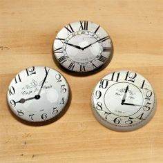 Vintage Clock Face Glass Paperweights
