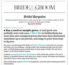 July 2008 @Washingtonian B Wedding Advice Feature on 'Bridal Bargains'