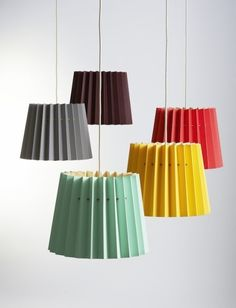 Pleated paper lamps by english design studio Lane Need a little color in your (lighting) life? Lane launched the fab Twin Tone Lamp at Design Junction in London in September and we thou Origami Lampshade, Paper Lampshade, Lampshade Ideas, Handmade Lampshades, Luminaire Design, Paper Lanterns, Lamp Shades, Pendant Lighting, Jar Chandelier