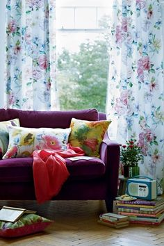 floral curtains and cushions