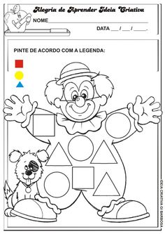 Circus Crafts Preschool, Circus Activities, Preschool Learning Activities, Color Activities, Writing Activities, Crafts For Kids, Counting Worksheets For Kindergarten, Shapes Worksheets, Shape Posters