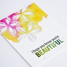 Card by Mayline @maylinelovesyou. Floral & Flutter dies and Beautiful Words stamp set by Concord & 9th!