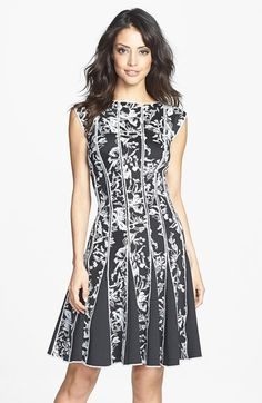 Tadashi Shoji Embroidered Neoprene Fit & Flare Dress available at #Nordstrom