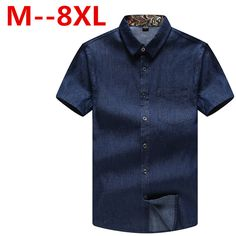 >> Click to Buy << large size7XL 6XL Men Jeans Shirt Cotton Short Sleeve Denim Shirts Men's Single Breasted Patchwork Cowboy Camisas Chemise Homme #Affiliate