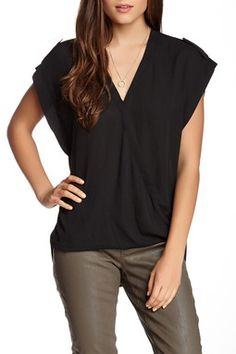 Cap Sleeve Crossover Blouse