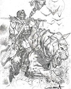 My savage, barbarian version of MOTU universe Comic Book Drawing, Comic Books Art, Comic Art, Character Sketches, Comic Character, He Man Desenho, He Man Tattoo, Sergio Davila, He Man Thundercats