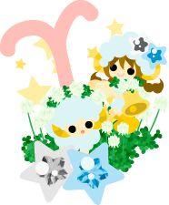 """フリーのイラスト素材「星占い 〜牡羊座〜」Free Illustration """"Horoscope ~Aries~"""""""