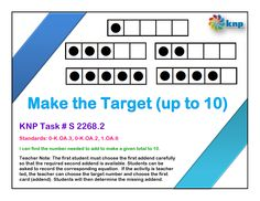 """Make the Target (up to 10)"" - I can find the number needed to add to make a given total to 10. Supports learning Common Core Standards: 0-K.OA.2, 0-K.OA.3, 1.OA.6 [KNP Task # S 2268.2]"