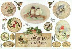 Ricepaper/Decoupage paper,Scrapbooking Sheets/Craft Paper Home Sweet Home Birds | eBay