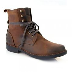 Man in Pink | Men's Mid Brown Leather Military Style Ankle Boots...