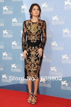 Aliexpress.com : Buy Custom Made Selena Gomez Long Sleeve Knee Length Lace Embroidery Appliques Celebrity Dress from Reliable Celebrity-Inspired Dresses suppliers on Ivy Lovely Shop
