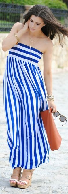 Ron Herman Blue And White Stripe Bandeau Maxi Dress by The Sweetest Thing