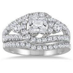 2.00 CARAT PRINCESS CUT D/VVS1 DIAMOND BRIDAL SET 14K WHITE GOLD ENGAGEMENT RING #Jewelsbyeanda