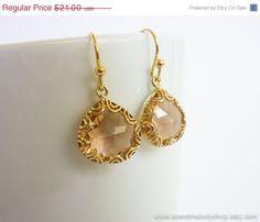 Champagne Filigree Gold Earrings - wedding jewelry, bridal, bridesmaid gifts, mom gift, Simple Elegant Earrings