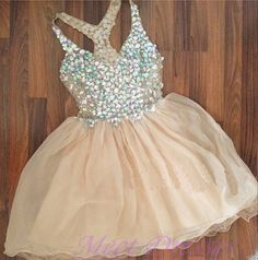 Tulle Homecoming Dress Short Prom Dress Elegant 2016 New arrival Champagne…