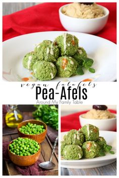 My Pea-Afel (vegan falafel) swaps peas for chickpeas in traditional falafels and it makes an addicting little appetizer bite that everyone will love! via @slingmama Dairy Free Appetizers, Easy Appetizer Recipes, Healthy Appetizers, Quick Recipes, Dairy Free Recipes, Quick Easy Meals, Easy Family Dinners, Healthy Family Meals, Delicious Vegan Recipes
