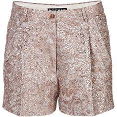 Rochas Metallic Jacquard Shorts ($350) ❤ liked on Polyvore featuring shorts, mauve, woven shorts, loose fit shorts, rochas, loose shorts and jacquard shorts