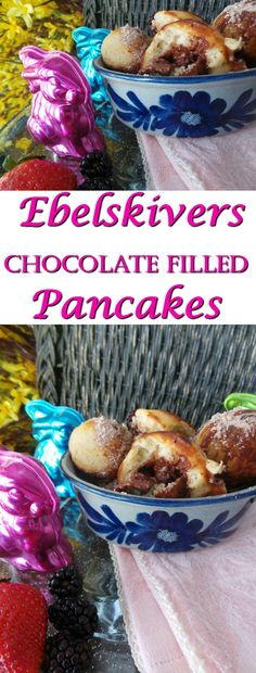 Ebelskivers Chocolate FIlled Pancakes are a Danish Breakfast treat. Often filled with Apples, you can alternately fill this breakfast recipe with a myriad of fillings. AD Made with Chocolat Frey (Swiss Made chocolate just coming to the US in fine stores near you!)