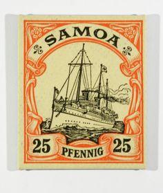 1900 samoan postage stamp enlarged on canvas