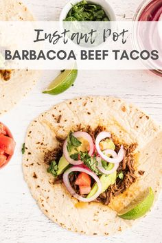 Revamp taco night with a kick of spice with these Instant Pot Barbacoa Beef Tacos. This flavorful meat is deliciously seasoned and cooked until perfectly tender. Layer it in tortillas with all your favorite toppings your next taco night! Gourmet Recipes, Real Food Recipes, Dinner Recipes, Healthy Recipes, Barbacoa, Pizza Hut, Meatloaf Recipes, Beef Recipes, Family Recipes