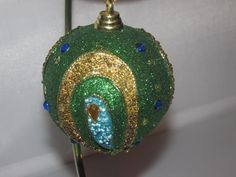 New Trimmerry Green Glitter Peacock Ball  Christmas Ornament NWT