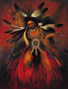 Native American art~ Love how he artist painted in the Bear, Eagle, Buffalo and Wolf.
