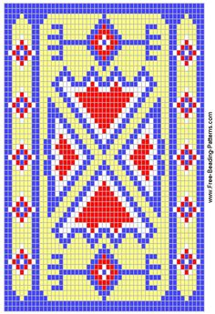 FREE BEADING PATTERN - 4 Directions in Blue and Maize - FREE beading design