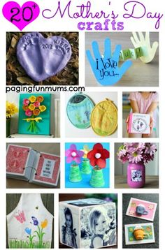 20 + Mother's Day Crafts for kids to make. So many precious ideas!