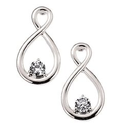 "AVON - Catia Eternity Earrings  http://tinanell1208.avonrepresentative.com/    Silvertone with CZ accents. 3/4"" L. Pierced.    GOOD TO KNOW  All of Avon's jewelry is nickel-free for those with sensitive skin & allergies to nickel."