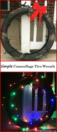 Simple Recycled Tire Wreath -- DIY camouflage Christmas wreath Christmas Wreaths, Christmas Crafts, Christmas Decorations, Christmas Activities, Craft Activities, Tyres Recycle, Repurpose, Tire Craft, Automotive Decor